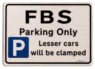 Gift for FBS car owner | New Parking only Sign | Metal face Brushed Aluminium
